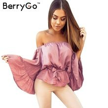 Berrygo sexy fora do ombro plissado camisa blusa de cetim macio flare manga arco verão encabeça elegante brilhante rosa mulheres blusas blusas alishoppbrasil