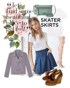 """Skate to My Lou My Darling"" by rachael-aislynn ❤ liked on Polyvore featuring Kimchi Blue, Madewell, rag & bone, Via Spiga, Rebecca Minkoff, FOSSIL, denim, skirt, skaterSkirts and pastels"