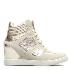Triumph by @ShoeDazzle xx #sportyglam #metallic #wedgesneakersfordays