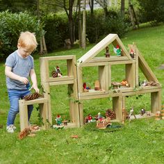 Outdoor Small World Wooden Building Blocks Kleine Welt Holzbausteine  Outdoor Learning Spaces, Kids Outdoor Play, Outdoor Play Areas, Kids Play Area, Backyard For Kids, Outdoor Fun, Natural Outdoor Playground, Diy Outdoor Toys, Eyfs Outdoor Area