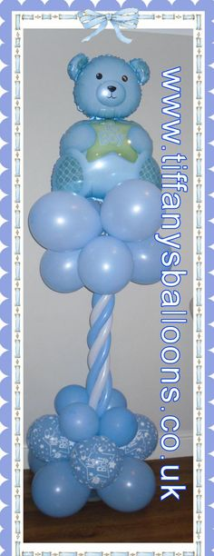 Baby Boy Shower - Balloon Column  ohh I want to make TWO of these for John-Henry
