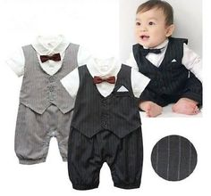 New Boy Baby Kid  Infant Gentleman bodysuit Rompers Jumpsuit with bow tie Outfit