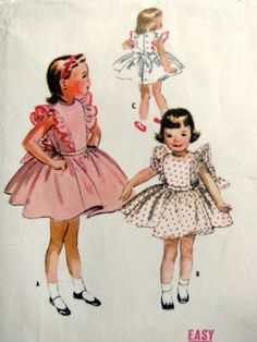 Vintage 1957 McCall's Childs Pinafore Dress Sewing Pattern 4066 Size 3