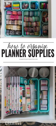 See how easy it is to organize planner supplies! #organizeplannersupplies #organizewashitape #washitapeorganization #plannersupplies