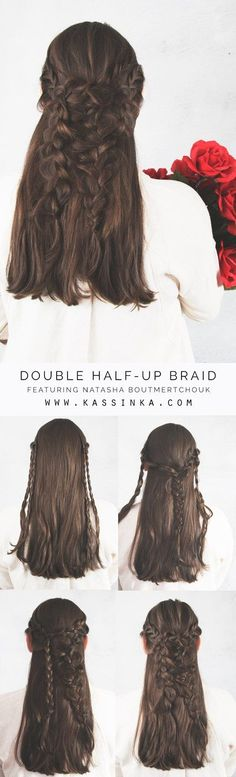 Double Half-up Braid on Medium Thick Hair