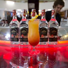 Legend has it that Mick Jagger first drank a Tequila Sunrise on the West Coast leg of the Rolling Stones' 1972 North American Tour while attending a p. Jose Cuervo Margarita, Tequila Jose Cuervo, Margarita Mix, Cocktail Drinks, Alcoholic Drinks, Beverages, Cocktails, Tequila Sunrise, Beer Tasting