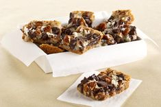 Chocolate Chunk-Magic Cookie Bars recipe                  Silky chocolate, toasty pecans and tropical coconut all sit on a crunchy graham crust. What's really magical is that these bars don't disappear even faster.