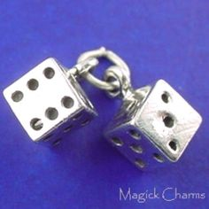 DICE Pair Of Lucky Dice Movable 3D .925 Sterling by magickcharms