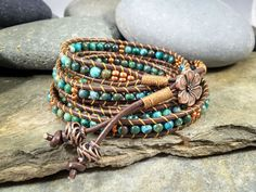 Handmade 5 wrap bracelet, African turquoise, leather cord wrap by NimbleWitchCreative on Etsy
