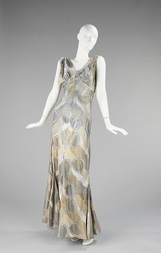 """Mercury"" (c. 1933, silk,metal) by   Elizabeth Hawes, American designer who created simple, witty, distinctive, elegant and practical garments for women of means"