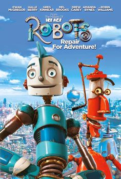 My son wanted this movie when at the store today. We bought it and looking closer at it and watching it I realized that Robin Williams voices the red robot that is seen here. That is not a bad thing.it just makes me sad. Kid Movies, Family Movies, Cartoon Movies, Great Movies, Disney Movies, Movies And Tv Shows, Movie Tv, Robot Cartoon Movie, Children Movies