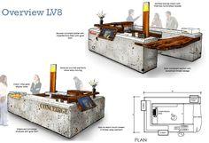 Westfield concierge desk - Concept sketch/The yard Creative Interior Sketch, Interior Concept, Coffee Shop Interior Design, Decor Interior Design, Kiosk Design, Retail Design, Waiting Room Design, Perspective, Interior Design Presentation