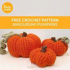 Amigurumi Pumpkins Crochet pattern by Mevlinn Gusick Large Pumpkin, Little Pumpkin, Free Crochet, Knit Crochet, Crochet Hats, Small Pumpkins, Craft Free, Love Craft, Pumpkin Decorating
