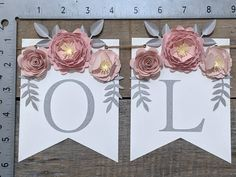 Personalized paper flower garland with blush peonies Pink and | Etsy 3d Paper Flowers, Paper Flower Garlands, Paper Leaves, Paper Flower Backdrop, Fake Flowers, Pink And Gray Nursery, Blush Peonies, Floral Banners, Bridal Shower Decorations