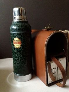 Stanley Thermos and Lunch Tin in Leather Carry Case