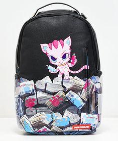 cdc42fb9bb5 Sprayground Kitten Money Stacks Black Vinyl Backpack