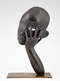 Art Deco bronze sculpture African woman by Hagenauer, Vienna 1935, WHW Rena #ArtDeco #Hagenauer