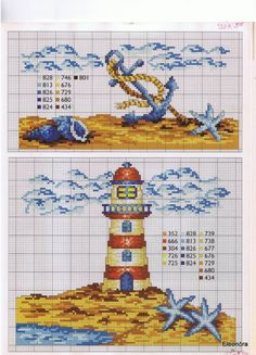Lighthouse and seabed Cross Stitch Sea, Cross Stitch Needles, Cross Stitch Animals, Counted Cross Stitch Patterns, Cross Stitch Charts, Cross Stitch Designs, Cross Stitch Embroidery, Embroidery Patterns, Plastic Canvas Patterns