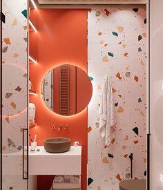 Bathroom Red, Modern Bathroom Decor, Bathroom Design Small, Bathroom Colors, Bathroom Interior Design, Modern Interior, Small Bathrooms, Colorful Bathroom, Interior Colors
