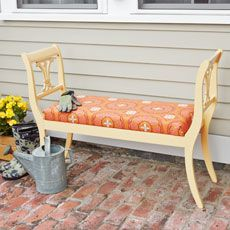 LOVE this bench made from old dining room chairs.  And it would look great at an actual dining room table.