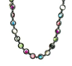 Striking hematite necklace with a multi-colour array of vibrant beads.