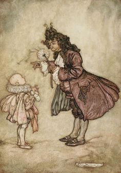 Peter Pan in Kensington Garden by J.M.Barrie, illustrated by Arthur Rackham, 1906. When her Majesty wants to know the time.