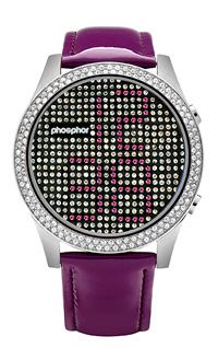 Phosphor Appear Purple Crystal Watch with Purple Gloss Leather Strap