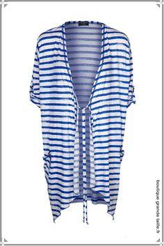 Gilet d'été marin femme ronde, esprit peignoir à porter idéalement sur un maillot de bain taille 44 à 54.