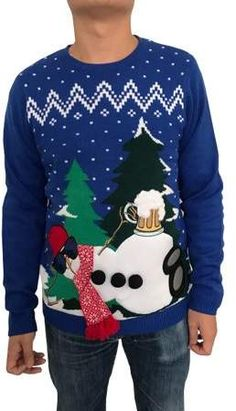 bca52e29d7 N. Really Royal Take It Easy Snowman Men's Ugly Christmas Sweater Mens Ugly  Christmas Sweater