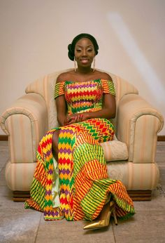 "I Do Ghana   Bride: Claudia   Photos: Onefotos   Mua: Valerie Lawson   Coordination: Purple Twirl Events   Gown"" Pistis   Kente Bride"