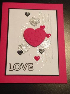 Just Because Card - Valentine's Day Card - Inspiration:  http://scrappinandstampiningj.blogspot.com/search?updated-max=2016-03-06T07:25:00-07:00&max-results=20&start=40&by-date=false - Stamps:  Stampin' Up Gorgeous Grunge, Simon Says Stamp Hello Beautiful - Stampin' Up Decorative Dots Embossing Folder - Inks:  Versafine Onyx Black, Versamark - Ranger Superfine Silver Embossing Powder - Glossy Accents - Spectrum Noir Sparkle Clear - The Paper Studio Glittered Cardstock