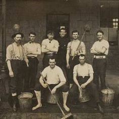 Digital Photograph - 'Scrub Out', Eight Police Officers with Mops & Buckets, Russell Street Police Station, Melbourne, 1909 - Version details - Trove