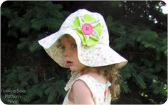 free sewing pattern cotton hat patterns for toddlers | ... Peek-A-Boo Patterns » Floppy Flower Sun Hat: Newborn- Child E-Pattern