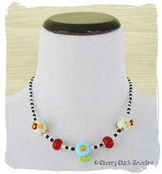 Checkered Poppy Flower Lampwork Glass Necklace... #LampworkGlass #BeadedNecklace #Checkerboard