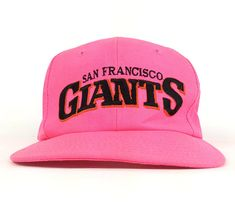 4a6c1045e 80s MLB San Francisco Giants Embroidered Logo Pink Baseball Cap Hat  Snapback Sm-Med Adult Size
