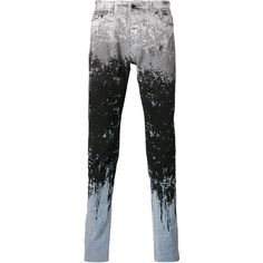 Diesel Black Gold paint splat and stripe skinny jeans ($272) ❤ liked on Polyvore featuring men's fashion, men's clothing, men's jeans, black, mens zipper jeans, mens super skinny jeans, mens super skinny stretch jeans, mens leather jeans and mens striped jeans