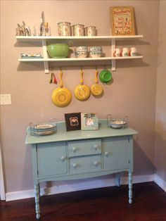 Ikea varde wAll shelf with 5 hooks over blue refinished buffet- southern, chic, vintage kitchen ideas Www.mimikayphotography.com