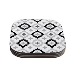 "Kess InHouse Pellerina Design ""Black White Moroccan"" Grey Geometric Coasters (Set of 4) 4""x 4"" (Black White Moroccan) (Wood)"