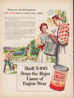 """1953 SHELL MOTOR OIL vintage magazine advertisement """"start driving home"""" ~ When you start driving home Acid Action starts to attack your engine! - It's not the driving to the picnic spot that plays hob with your engine! It's what happens when you ..."""