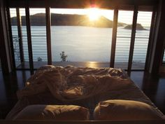 I'd love to wake up to the sunrise over the mountains and water!