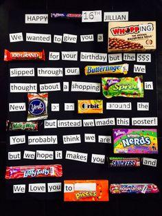 Sweet 16 Candy Bar Poster made for my Jillian! Birthday Candy Posters, Candy Birthday Cards, 16th Birthday Card, Candy Bar Posters, Sweet 16 Birthday, Diy Birthday, Funny Birthday, 16 Birthday Gifts, Birthday Nails