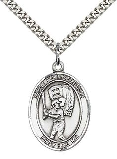 "F A Dumont Sterling Silver St. Christopher Pendant with 24"" Stainless Steel Heavy Curb Chain. Patron Saint of Travelers/Motorists"