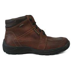 Zapato botín en piel engrasada color cuero con forro de goretex de Mephisto vista lateral