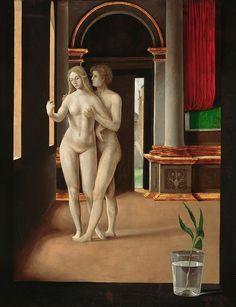 Jacopo de'Barbari, 1460/70-bef.1516, Italian, A room with lovers (reverse side). Painting on poplar wood; 59.5 x 45 cm.   Staatliche Museen, Berlin.  Early Renaissance.