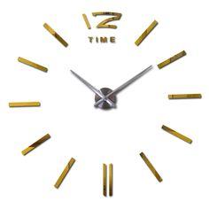 3d home decor quartz diy wall clock clocks horloge watch living room metal Acrylic