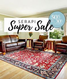 Ending Tonight: 50% off  EXTRA 30% on all Serapi rugs & Free shipping with the code: SERAPI30.