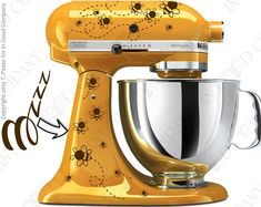 """Bee Print Decal Kit for your Kitchenaid Stand Mixer Plus a FREE Bonus Decal 6"""" """"Bzzz"""" for the back of your mixer or other smooth surface"""