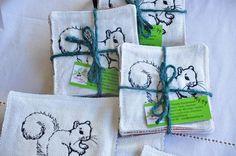 Coasters White Squirrel Upcycled Fabrics by TheBuckeyeandtheFrog