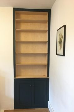 Shaker style alcove cabinet and bookcase made from birch plywood and painted in Farrow & Ball Hague Blue Alcove Cupboards, Hague Blue, Plywood Cabinets, Bespoke Furniture, Cabinet Makers, Farrow Ball, Shaker Style, Furniture Making, Bookcase