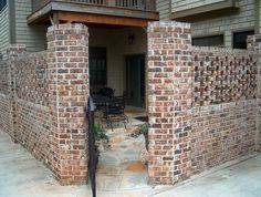 brick privacy walls brick privacy walls #brick #privacy_walls Privacy Wall Outdoor, Privacy Walls, Backyard Privacy, Backyard Ideas, Fence Ideas, Outdoor Ideas, Brick Courtyard, Courtyard Design, Patio Design